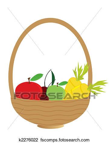 361x470 Clip Art Of Fruit Filled Basket K2276022
