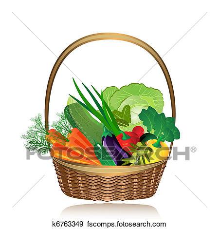 450x470 Clip Art Of Basket Of Vegetables K6763349