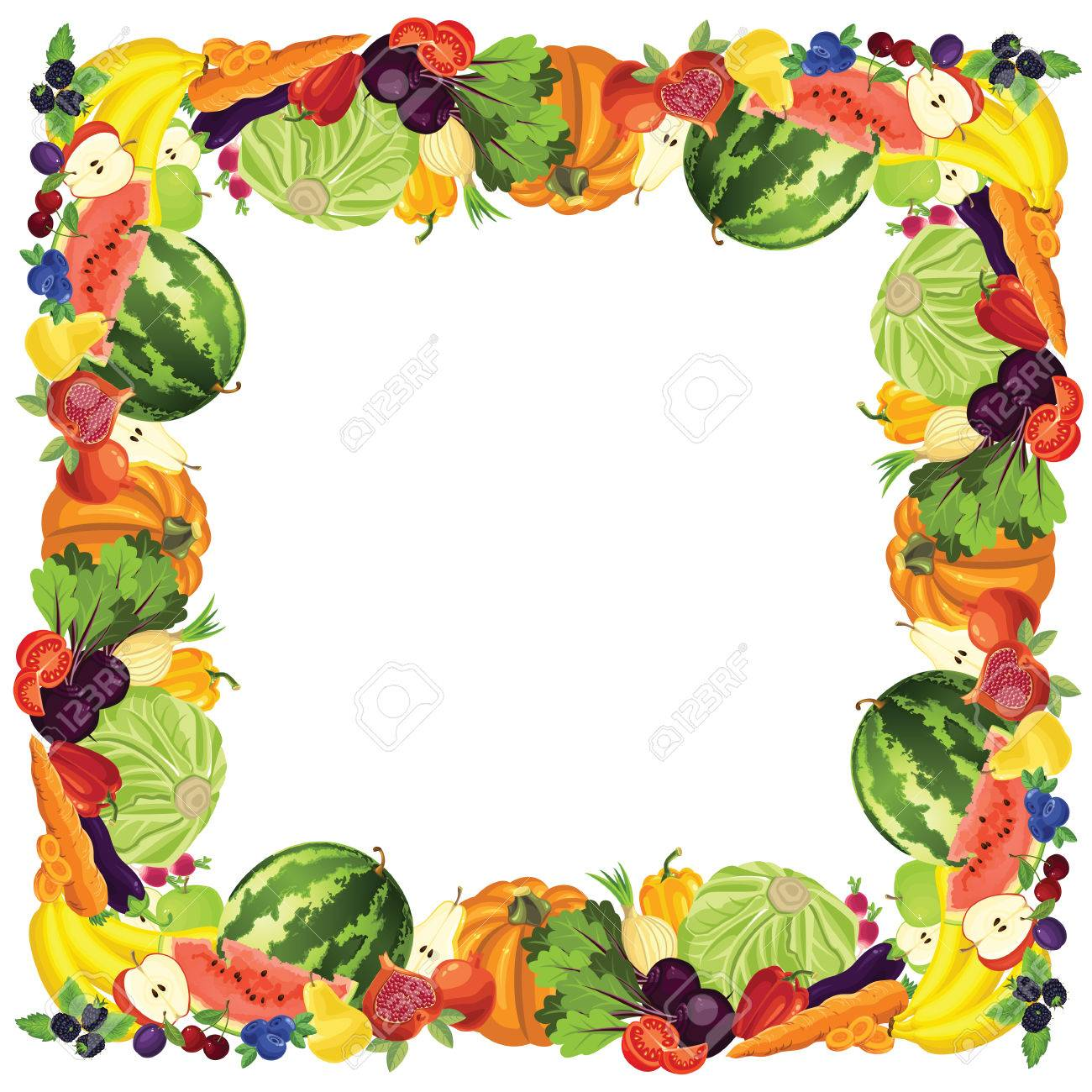 1300x1300 Border With Ripe Vegetable, Fruits And Berry Royalty Free Cliparts
