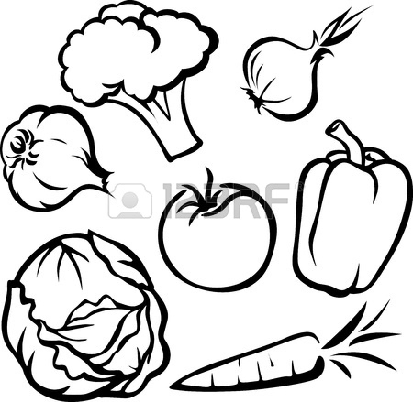 1350x1317 Fruit And Vegetable Clipart Black And White Fruits And Vegetables