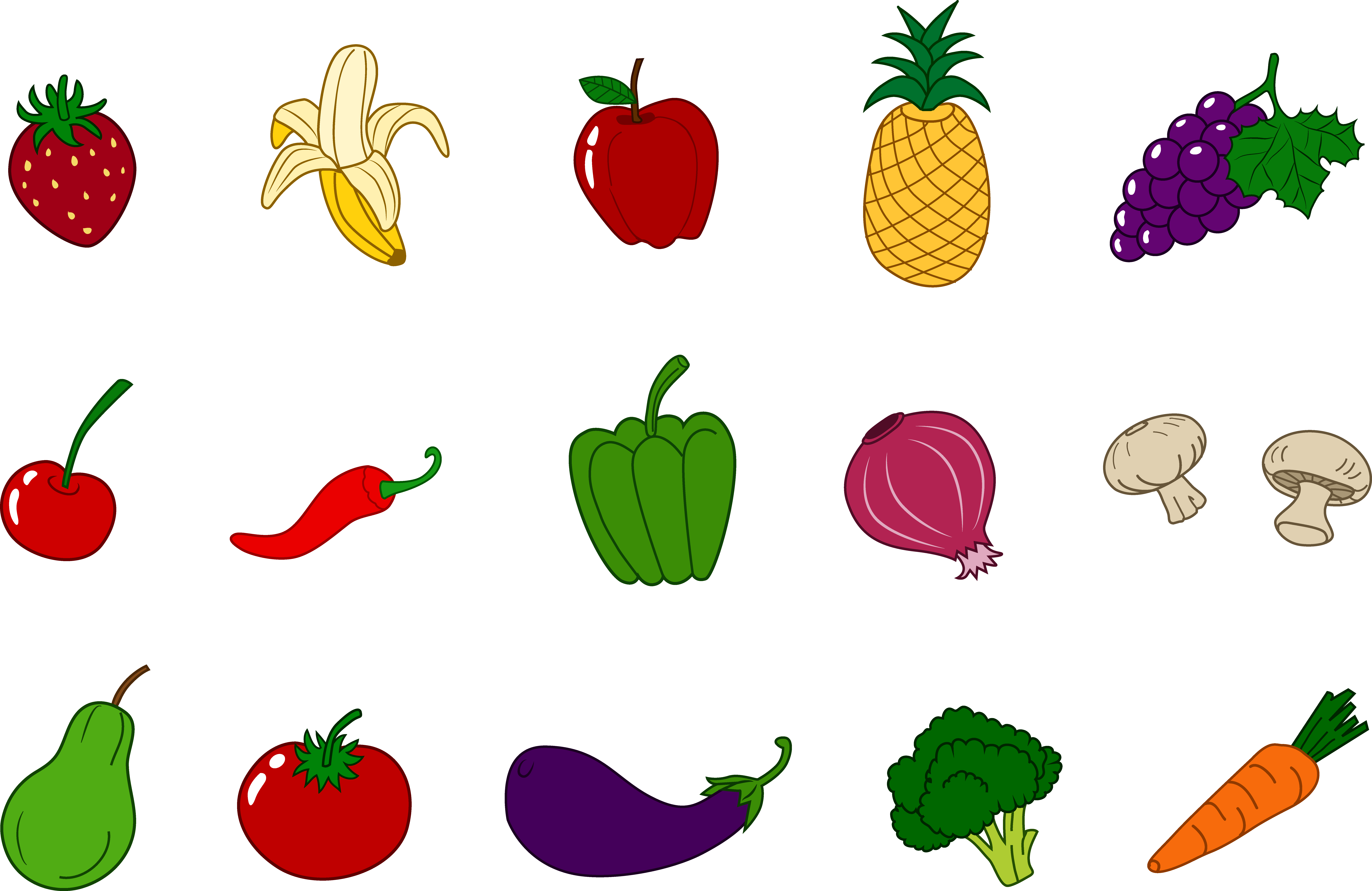 9555x6207 Fruit Vegetable Cliparts 213662