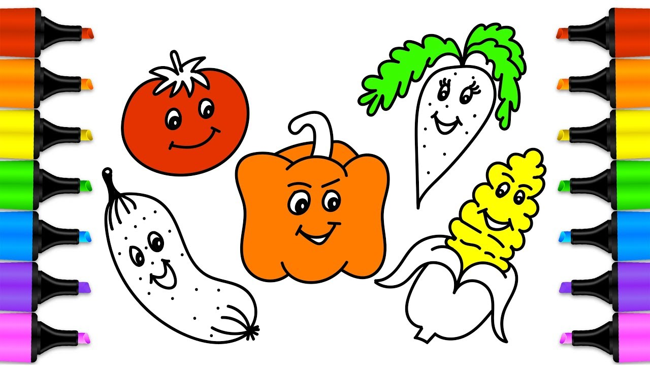 1280x720 How To Draw Vegetables Drawing And Coloring Cute Vegetables