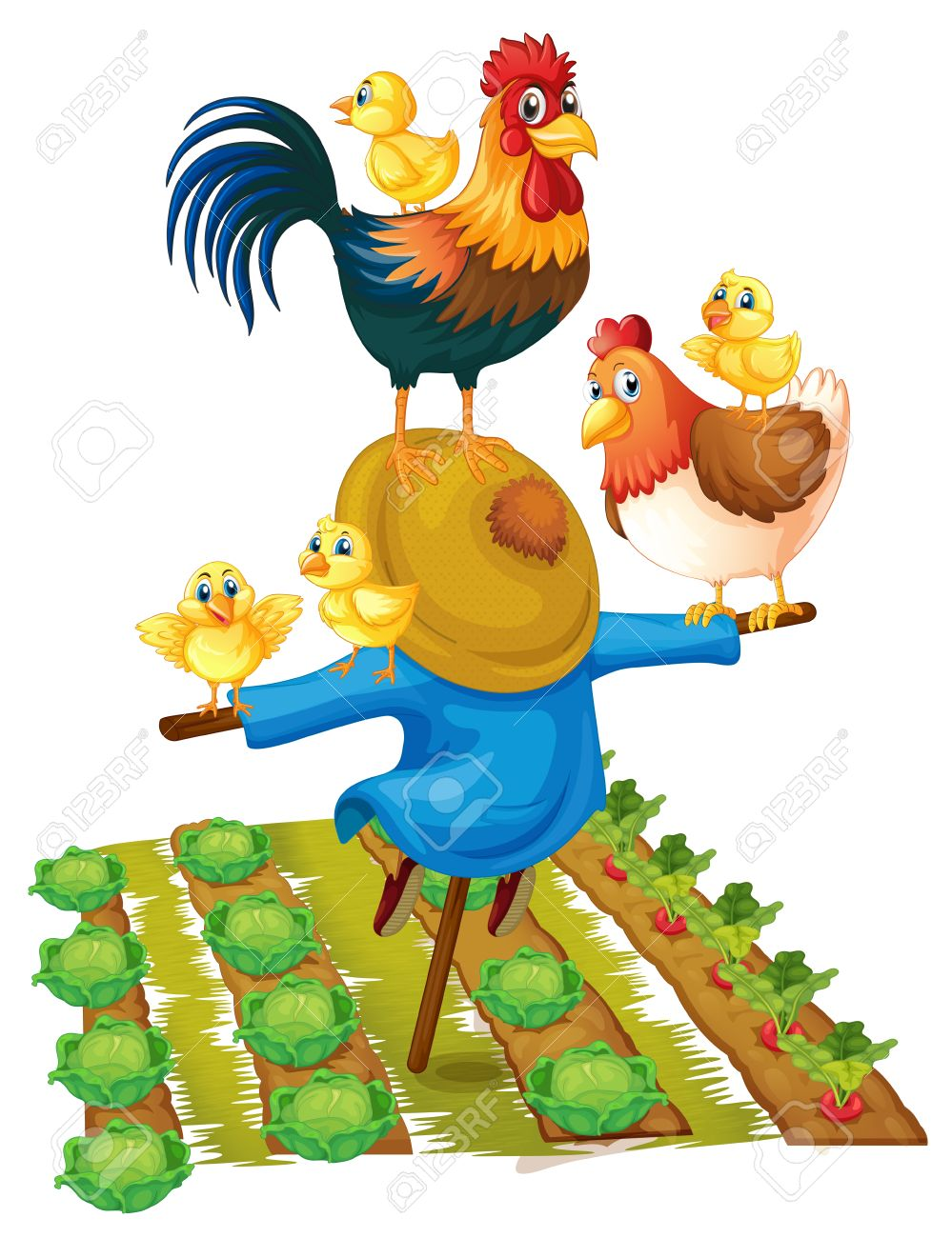 999x1300 Scarecrow And Chickens In Vegetable Garden Illustration Royalty