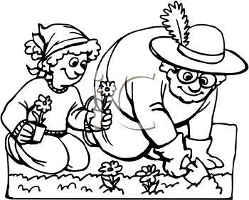 350x282 Black And White Vegetable Garden Clipart