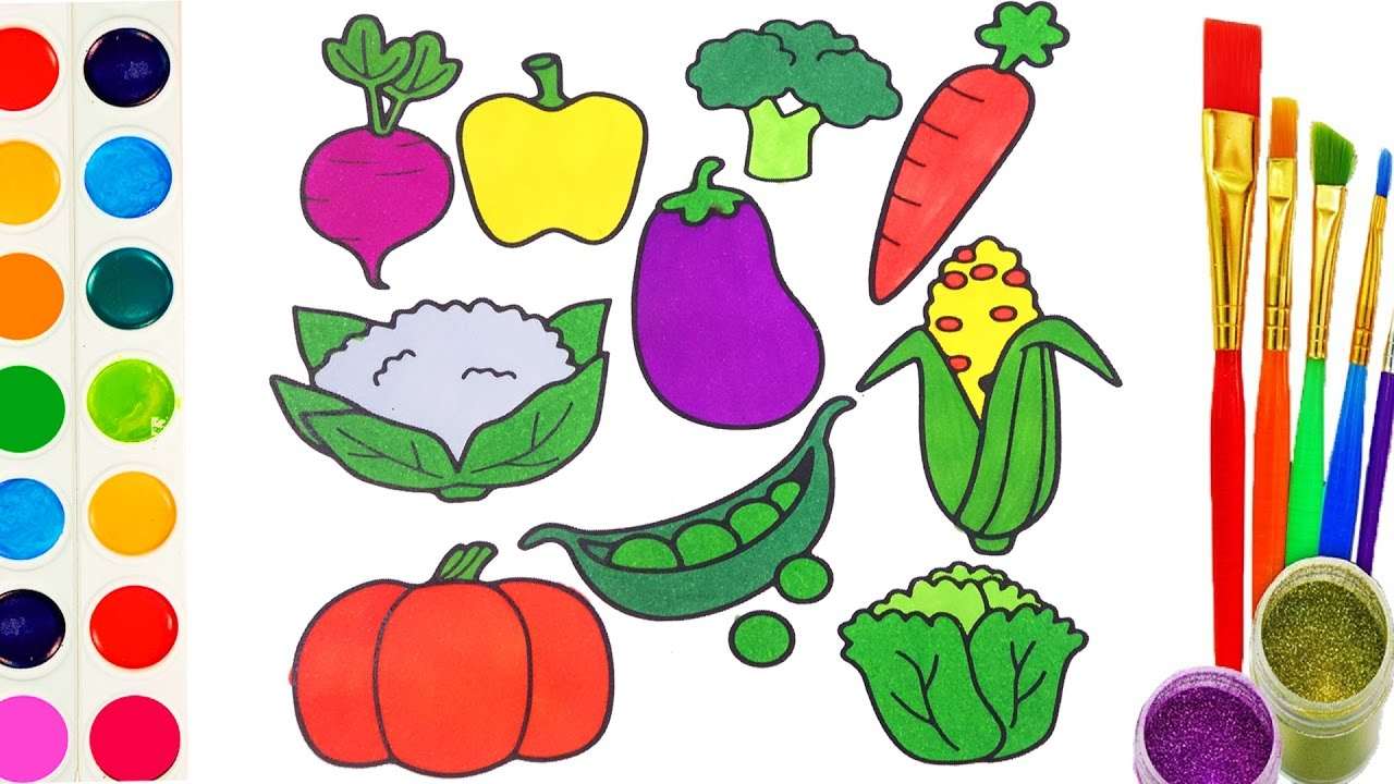 1280x720 Learn Colours With Drawing Vegetables And Coloring Book For Kids