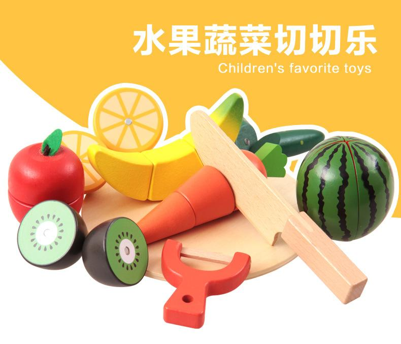 790x677 Wooden Kitchen Toys Cutting Fruit Vegetable Play Food Kids Wooden