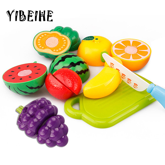 640x640 Yibeihe 8pcs Children Play House Toy Cut Fruit Plastic Vegetables