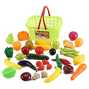 300x300 Buy Fruits And Vegetables Shopping Basket Grocery Play Food Set