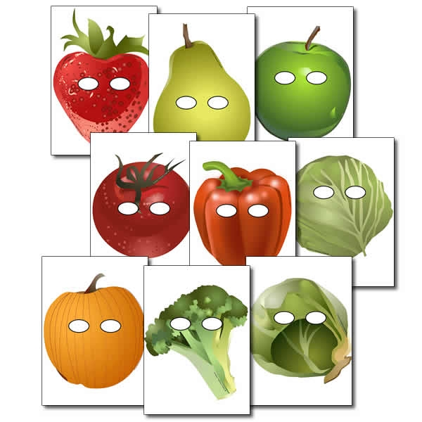 600x600 Fruit And Vegetable Role Play Masks