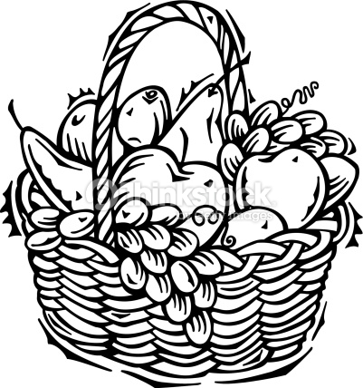 401x428 Fruits amp Vegetables clipart basket drawing