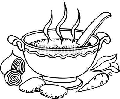 400x331 Bowl Of Stew Black And White Clipart