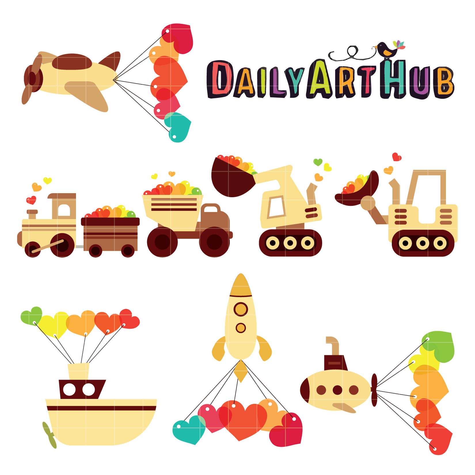 1650x1650 Romatic Vehicles Cute Clip Art Set Daily Art Hub