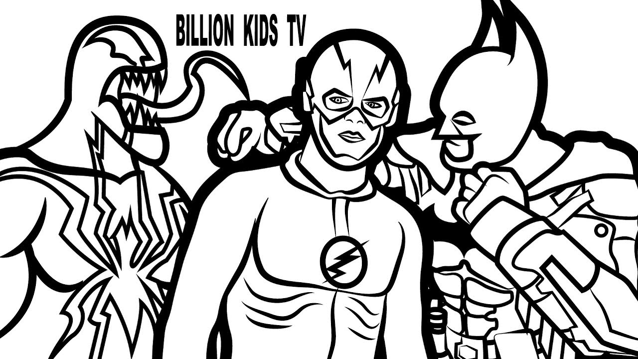 1280x720 Flash And Batman Vs Venom Coloring Book Coloring Pages Kids Fun