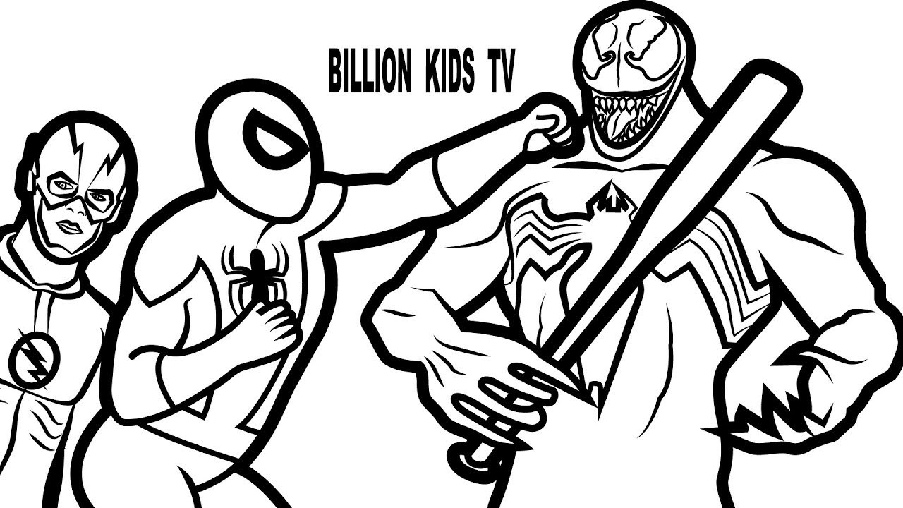 1280x720 Spiderman Vs Venom And Flash Coloring Book Coloring Pages Kids Fun