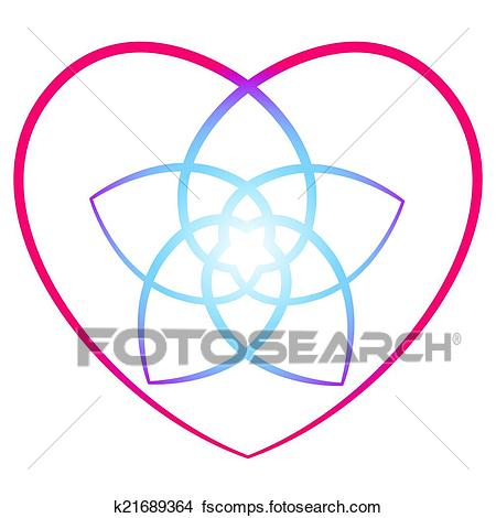 450x470 Clipart Of Flower Of The Venus Heart K21689364