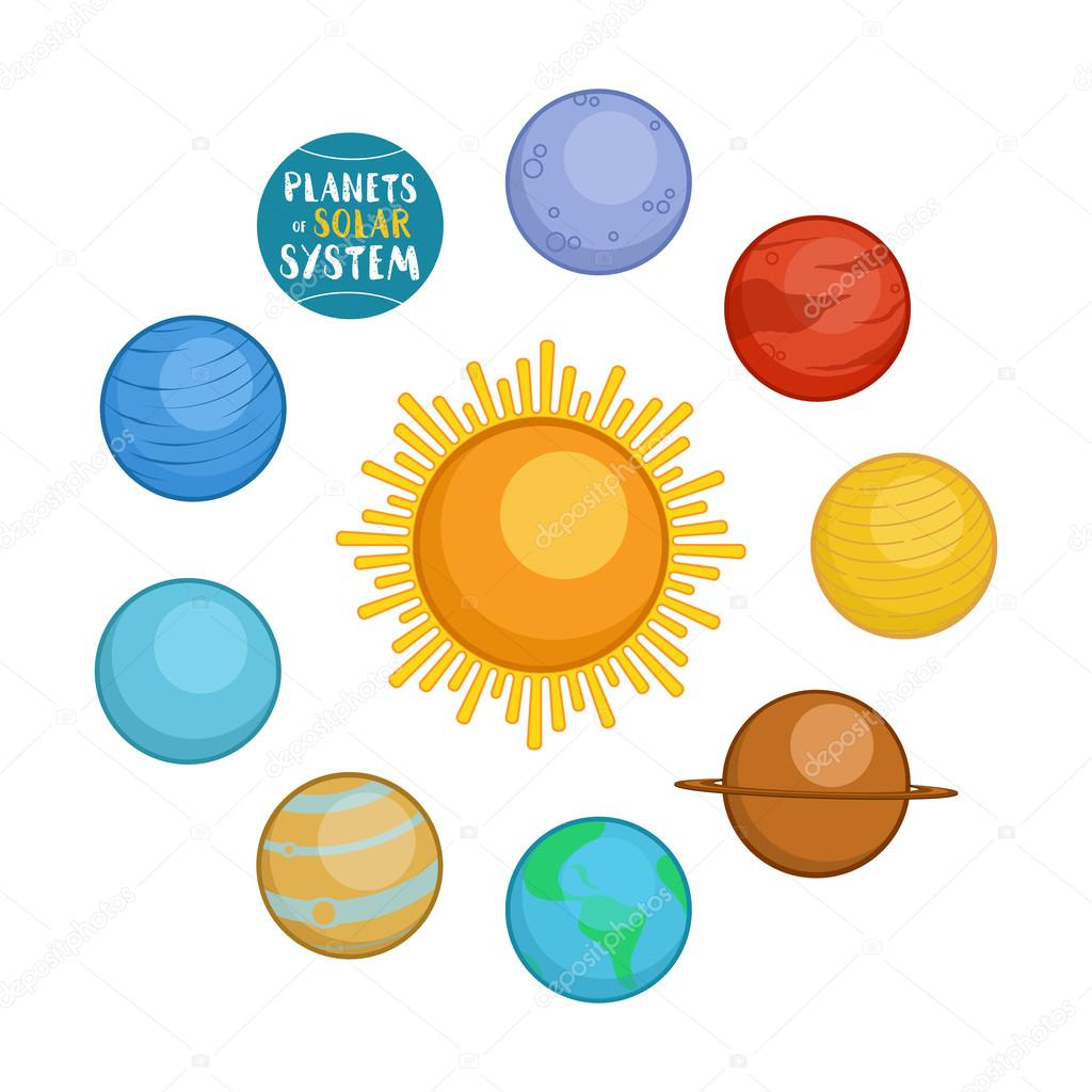 1024x1024 Planets Of Solar System, Cartoon Style Vector Illustration Stock