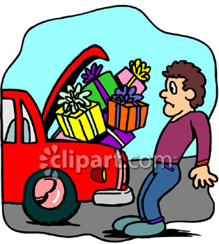 314x350 Clipart Picture Of A Man Trying To Fit Too Many Packages Into His