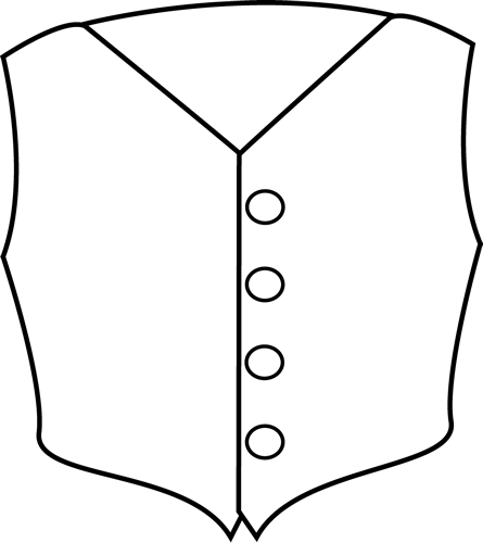 445x500 Black And White Vest Clip Art