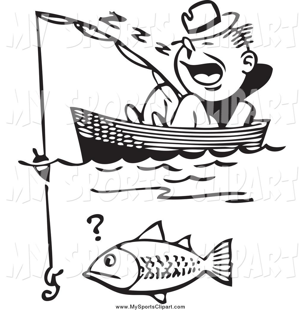 1024x1044 Sports Clip Art Of A Black White Man Dozing In A Boat