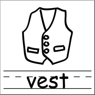 304x304 Clip Art Basic Words Vest Bampw Labeled I Abcteach
