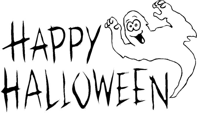 681x396 Black And White Happy Halloween Clipart
