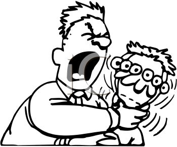 350x290 Black And White Cartoon Of A Man Yelling And Choking Another Man