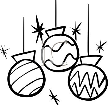 350x338 Picture Of Christmas Ornaments In Black And White In A Vector Clip