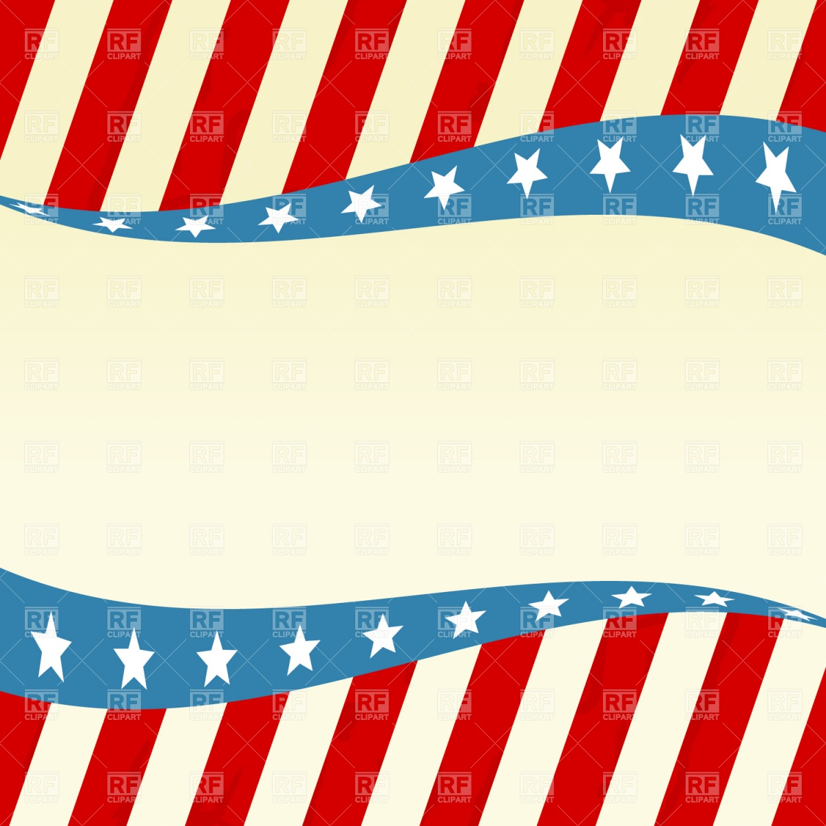 1200x1200 Patriotic Wave With Stars And Red White Blue Royalty Free Vector
