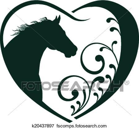 450x420 Clip Art Of Veterinarian Heart Horse Love. K20437897