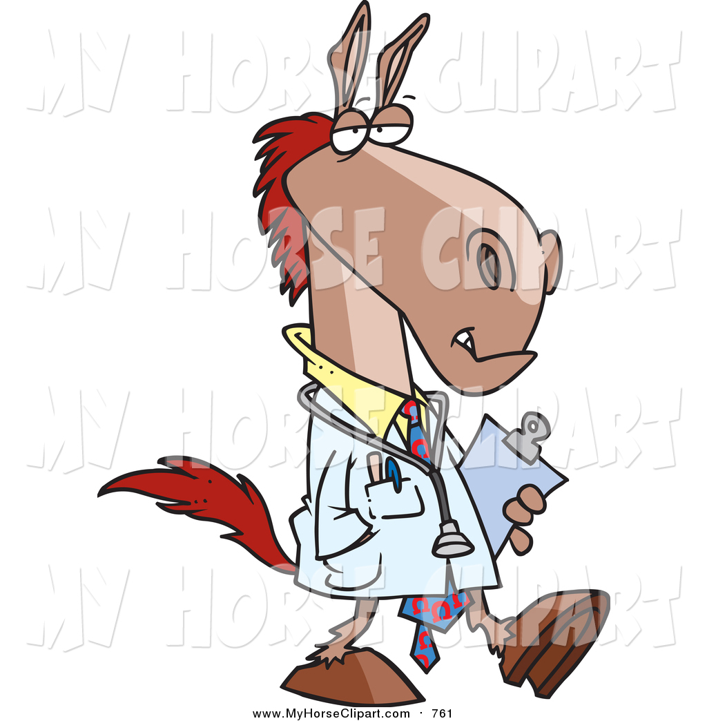 1024x1044 Clip Art Of A Cartoon Doctor Horse Walking By Toonaday