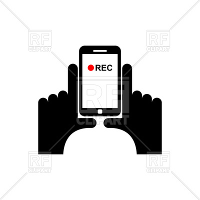 400x400 Vertical Video Sign, Hands And Smartphone Record Royalty Free
