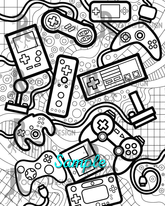570x713 Instant Download Coloring Page Video Game Controllers