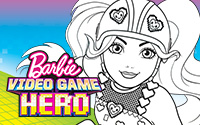200x125 Printable Barbie Video Game Hero Coloring Page 2
