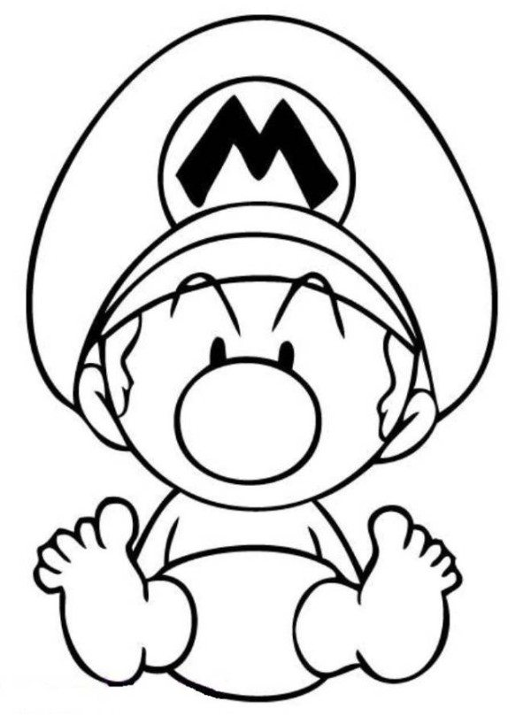 600x818 Video Games Baby Mario Coloring Pages, Video Games