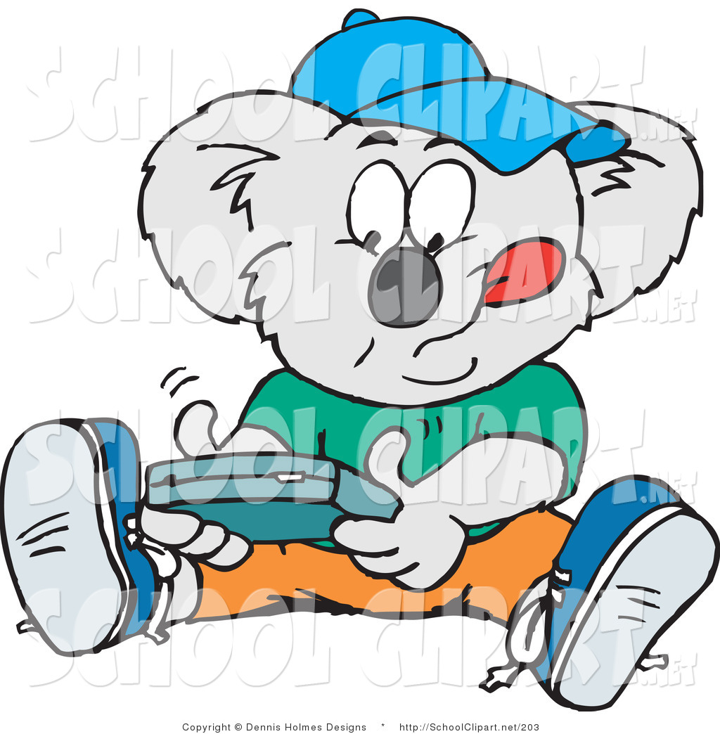 1024x1044 Clip Art Of A Koala Student Playing A Hand Held Video Game