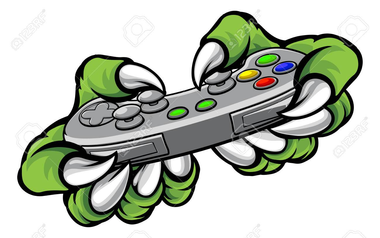 1300x814 Monster Gamer Player Hands Or Claws Holding A Controller Playing