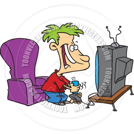 460x460 Cartoon Boy Playing Video Games By Ron Leishman Toon Vectors Eps
