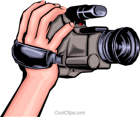 480x400 Hand Holding Camcorder Royalty Free Vector Clip Art Illustration