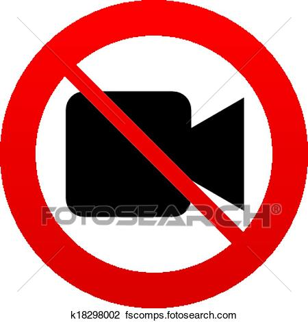 450x470 Clipart Of Don`t Shoot Video. Video Camera Sign Icon. K18298002