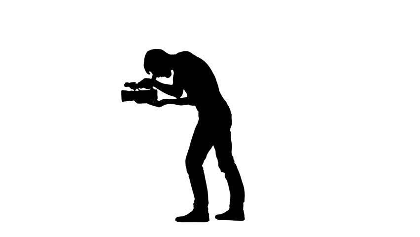 852x480 Videographer Holds The Camera. White. Silhouette Stock Footage