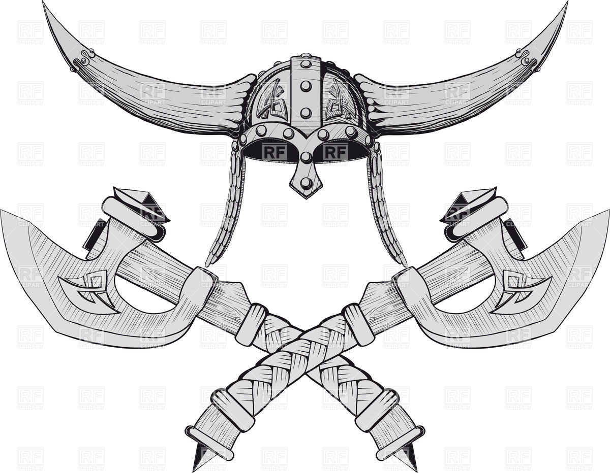 1200x932 Viking Horned Helmet Emblem With Two Crossed Axes Royalty Free