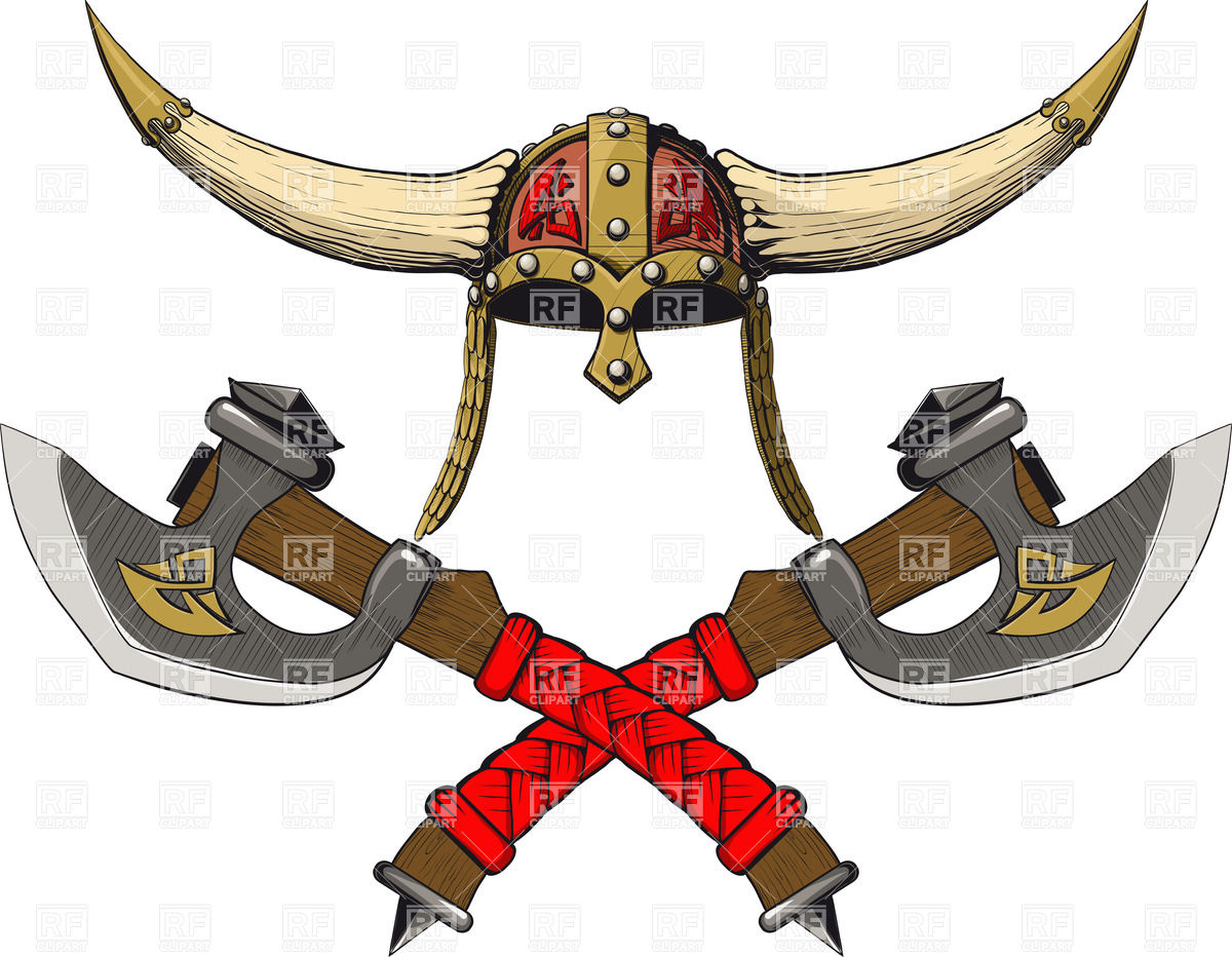 1200x932 Viking Horned Helmet With Two Crossed Barbarian Axes Royalty Free