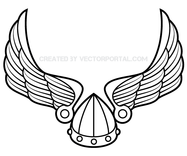 600x500 Winged Viking Helmet Vector Art 123freevectors