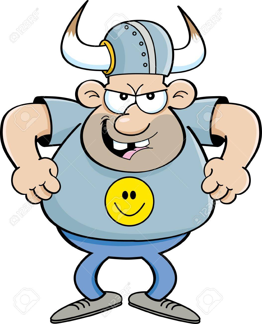 1053x1300 Cartoon Illustration Of An Angry Man Wearing A Viking Helmet
