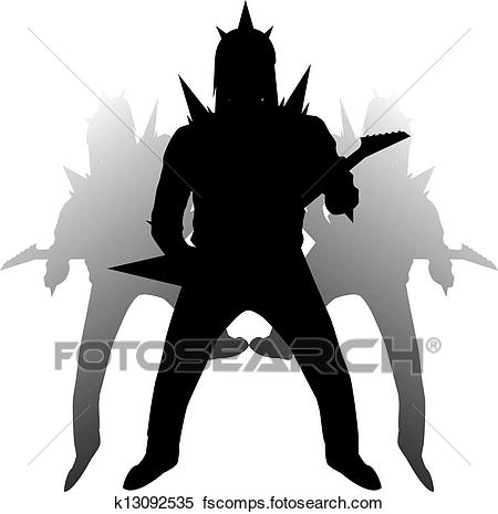 450x465 Clipart Of Hard Rock Guitarist In Viking Helmet K13092535