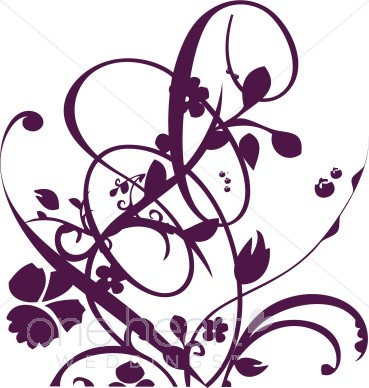 369x388 Purple Vine And Floral Flourish Clipart Clipart Color Variations