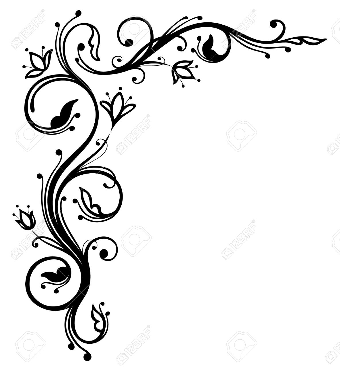 Flower Vine Line Drawing : Vine line cliparts free download best