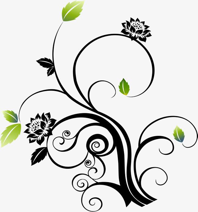 650x696 Little Fresh Black Vines, Little Fresh Vine, Black Flowers, Green