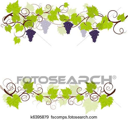 450x420 Clipart Of Grape Vines Frame. K6250835