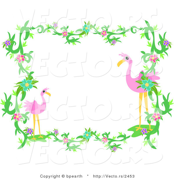 600x620 Vector Of Flamingos Within Vines And Flowers
